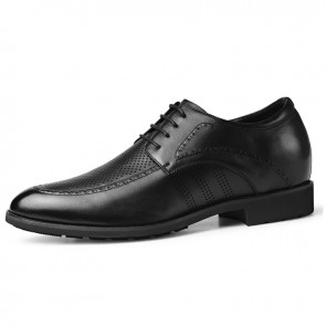 Height Increasing Perforated Business Formal Shoes Korean Black Hollow Out Dress Shoes Add Tall 2.4inch / 6cm