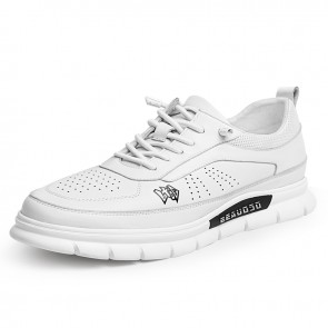 Lightweight Hidden Height Skate Shoes Gain Taller  2.4 inch / 6 cm White Perforated Leather Walking Running Shoes