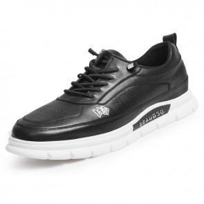 Lightweight Hidden Taller Skate Shoes for Men Gain Height  2.4 inch / 6 cm Black Perforated Leather Walking Running Shoes