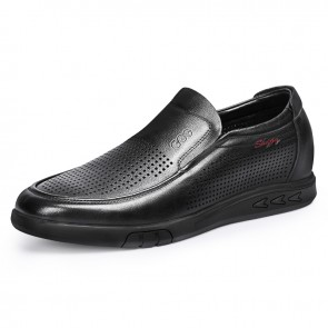 Hidden Lift Perforated Leather Loafers for Men Add Tall 2.4 inch / 6 cm Comfortable Slip On Elevator Casual Sandals