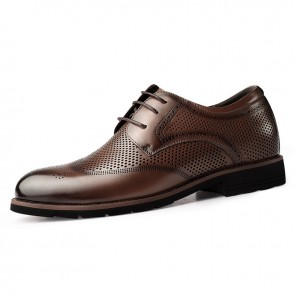 Height Elevator Hollow Out Brogue Dress Shoes for Men Increase 2.4inch / 6cm Brown Wing Tip Summer Formal Derbies