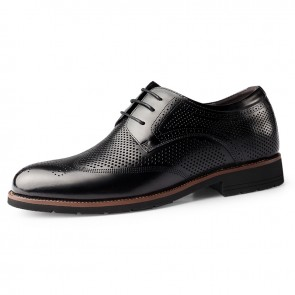 Height Increasing Hollow Out Brogue Dress Shoes Add Taller 2.4inch / 6cm Black Wing Tip Summer Formal Derbies
