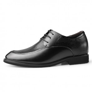 Black Hidden Taller Hollow Out Leather Oxfords for Men Add Height 2.4inch / 6cm Breathable Elevator Business Formal Shoes