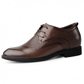 Hollow Out Taller Formal Shoes Add Height 2.4inch / 6cm Brown Hidden Insoles Summer Tuxedo Derbies