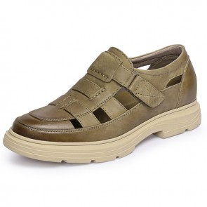 Stylish Taller Fisherman Sandals for Men Add Height 2.4 inch / 6 cm Velcro Strap Khaki Hollow Out Dressy Shoes