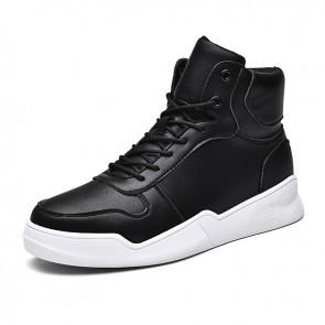 Black Height Increasing High Top Skate Shoes Trendy Sneakers Add Taller 2.8inch / 7cm