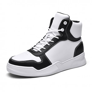 White Elevator High Top Skate Shoes Trendy Sneakers Add Your Height 2.8inch / 7cm