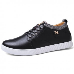 Daily Hidden Taller Skate Shoes for Men Increase 3 inch / 7.5 cm Black Four Seasons Elevator Casual Shoes