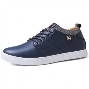 Daily Hidden Height Skate Shoes for Men Raised 3 inch / 7.5 cm Blue Four Seasons Elevator Casual Shoes