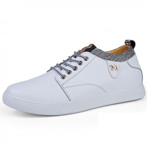 Daily Hidden Lift Skate Shoes for Men Add Taller 3 inch / 7.5 cm White Four Seasons Elevator Casual Shoes
