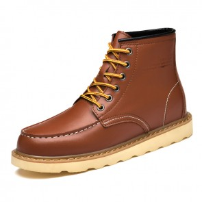 European Height Increasing Work Boots Brown Waterproof Ankle Boot Taller 3 inch / 7.5 cm