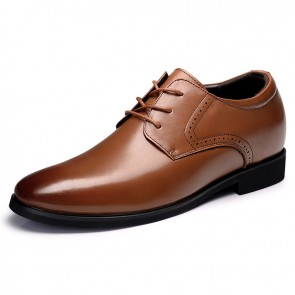 Trendy Taller Business Shoes Increase Height 2.6inch / 6.5cm Brown Formal Shoes
