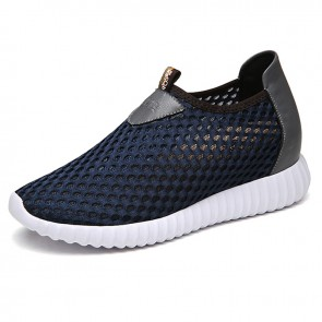 Breathable mesh elevating loafers increase height 8cm / 3.2inch navy blue silp on sneakers