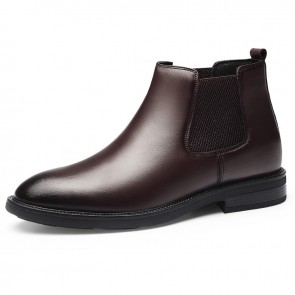 Warm Height Increasing Chelsea Boots for Men Add Taller 2.6inch / 6.5cm Brown Vintage Leather Ankle Boot