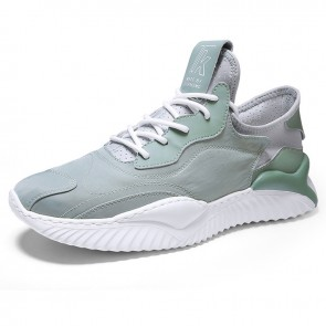 Trendy Tongueless Sneaker Green Height Increasing Walk Running Shoes Add Taller 2.4 inch / 6 cm