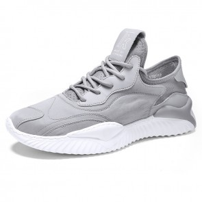 Trendy Grey Tongueless Sneaker Height Elevator Walk Running Shoes Gain Taller 2.4 inch / 6 cm