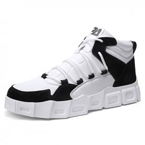 Black Elevator Casual Sports Shoes for Men Increase Taller 2.8inch / 7cm High Top Platform Sneakers