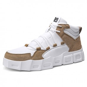 Brown Taller Casual Sports Shoes for Men Increase Height 2.8inch / 7cm High Top Platform Sneakers