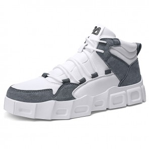 Grey Height Increasing Casual Sports Shoes for Men Add Taller 2.8inch / 7cm High Top Platform Sneakers