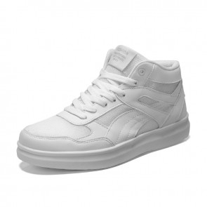 White Elevator Mesh Skate Shoes Increase Taller 3.5inch / 9cm High Top Unisex Sneakers