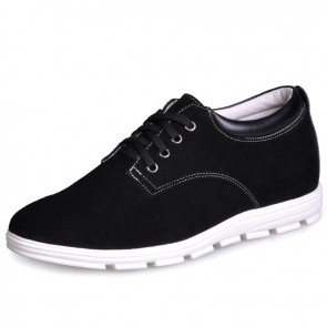 UK black height lift shoes men casual sneaker shoe elevator height 6cm / 2.36inches