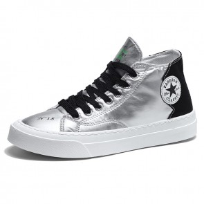 Black Elevator High Top Skateboarding Shoes Comfortable Canvas Sneakers Add Taller 2.8 inch / 7 cm