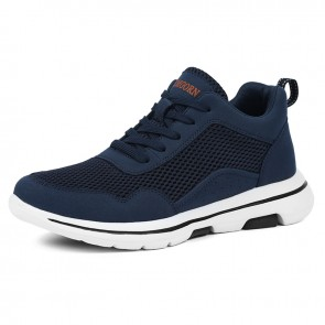 Summer Taller Men Fitness Shoes Increase 2.4 inch / 6 cm Blue Mesh Elevator Fashion Trainers