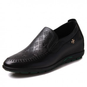 Elevator drivers shoes make men tall 6cm / 2.36inches black leather height increasing casual shoes