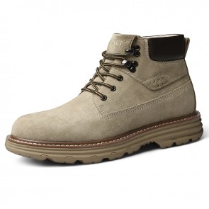 Trendy Hidden Taller Hiking Boots Tan Spacious Toe Casual Chukka Boot Add Height 2.4 inch / 6 cm