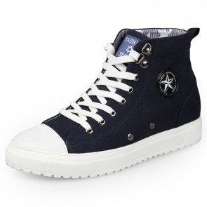 High top lace up height elevator fabric casual shoes 2.6inch / 6.5cm