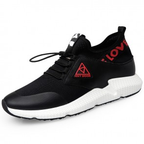 Ins Elevator Shoes for Men Height 2.6inch / 6.5cm Black Slip On Cap Toe Casual Sneakers