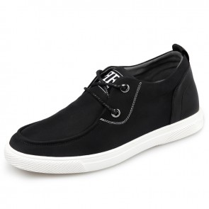 Waterproof Hidden Lift Canvas Trainers for Men Increase 2.2inch / 5.5cm Lace Up Flat Boat Shoes