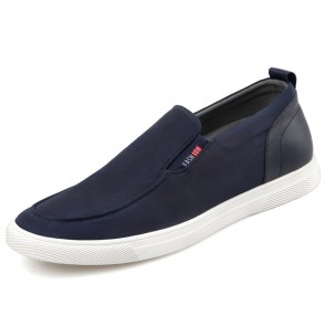 Waterproof Elevator Canvas Trainers for Men Get Tall 2.2inch / 5.5cm Lightweight Flat Boat Loafers