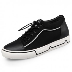 Height Increasing Casual Canvas Shoes for Men Add Tall 2.2inch / 5.5cm Black Lace Up Fashion Sneakers