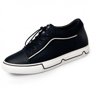 Height Increasing Men Canvas Sneakers Taller 2.2inch / 5.5cm Dark Blue Lace Up Fashion Shoes