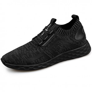 Slip On Elevator Flyknit Shoes for men Height 2.4inch / 6cm Shock Absorbing Fashion Sneakers
