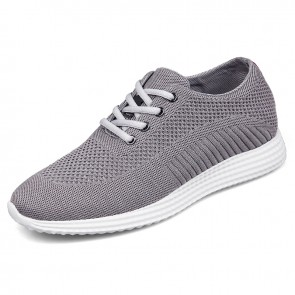 Elevator Flyknit Trainer Shoes for Men Taller 6.5cm / 2.6inch Grey Hidden Racer Shoes