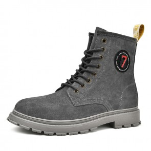 Height Increasing Fashion Boots for Handsome Men Add Taller 2.4 inch / 6 cm Grey Casual Leather Chukka Boot