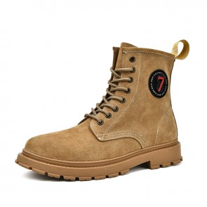 Hidden Lift Fashion Boots for Handsome Men Increase 2.4 inch / 6 cm Khaki Casual Leather Chukka Boot