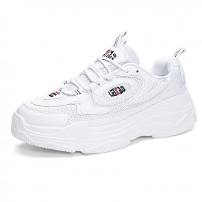 INS Low Top Elevator Clunky Sneakers White Mesh Hidded Lift Dad Shoes Increase 2.8inch / 7cm