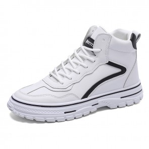 White Trendy Hidden Height Skateboarding Shoes Men High Top Elevator Sneakers Increase 2.8inch / 7cm