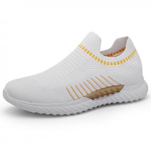 Ultra Lightweight LIft Sock Walking Shoes White Hidden Taller Slip On Sneakers Increase Height 2.4inch / 6cm