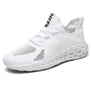 Hidden Height Workout Shoes White Flyknit Elevator Walking Shoes Get Taller 2.6inch / 6.5cm