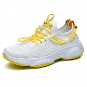 Hidden Lift Men Running Shoes White Mesh Slip On Sneakers Add Height 2.8inch / 7cm