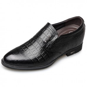 2018 Stylish Slip On Elevated Dress Shoes Taller 2.6inch / 6.5cm Black Croc Print Formal Loafers