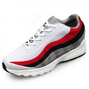 Trendy Hidden Taller Sneakers White Mesh Elevator Running Shoes Increase 2.6inch / 6.5cm