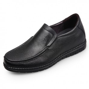 Soft Calf Leather Elevator Casual Loafers for Men Add Height