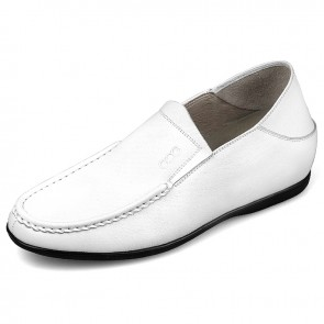 Comfortable Elevator Slipper height 2.2 inch white taller loafers