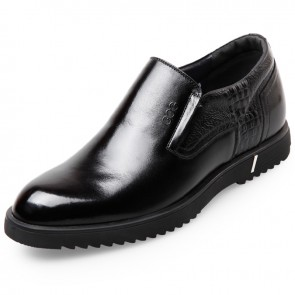 Comfort Business Elevator Dress Loafers for men Add Altitude plain toe formal shoes
