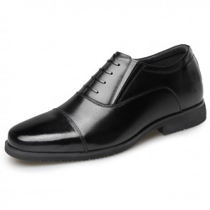 Elevator Military Officer Shoes for Men Increase Height 2.6inch / 6.5cm Cap Toe Sergeant Oxfords